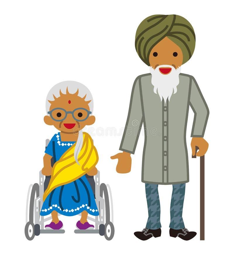 Starsza para - indianin ilustracja wektor