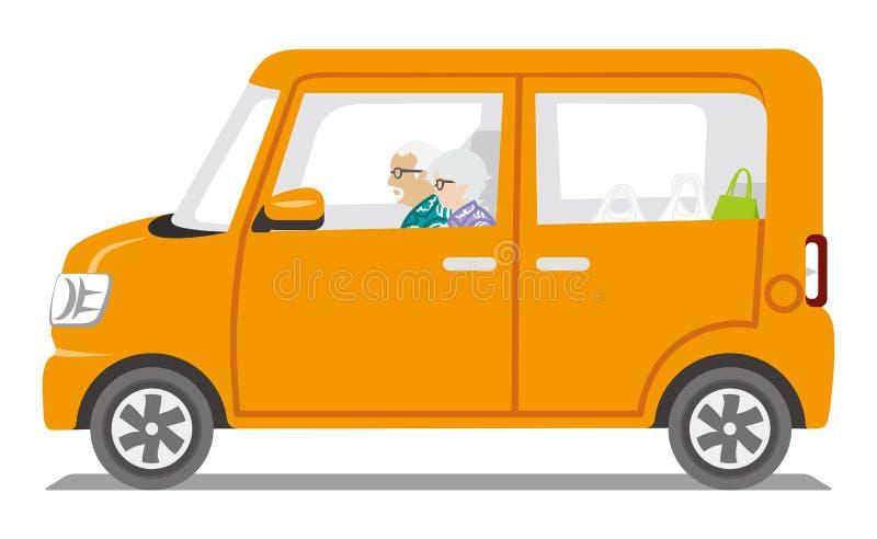 Starsza para jedzie Pomarańczowego koloru samochód, Boczny widok - Odosobniony royalty ilustracja