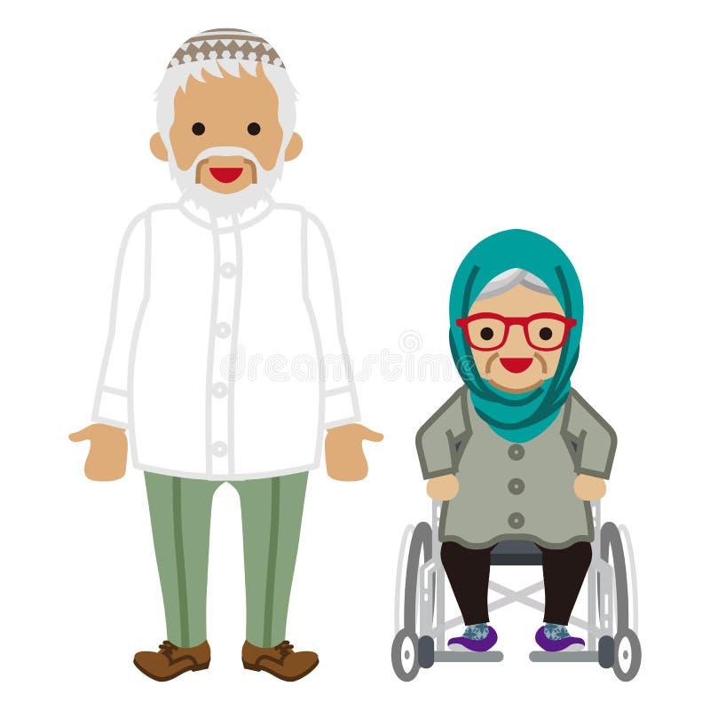 Starsza para - muzułmanin, wózek inwalidzki babcia ilustracji