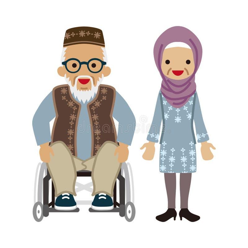 Starsza para - muzułmanin, wózków inwalidzkich dziaduniowie będący ubranym Eyeglasses ilustracja wektor