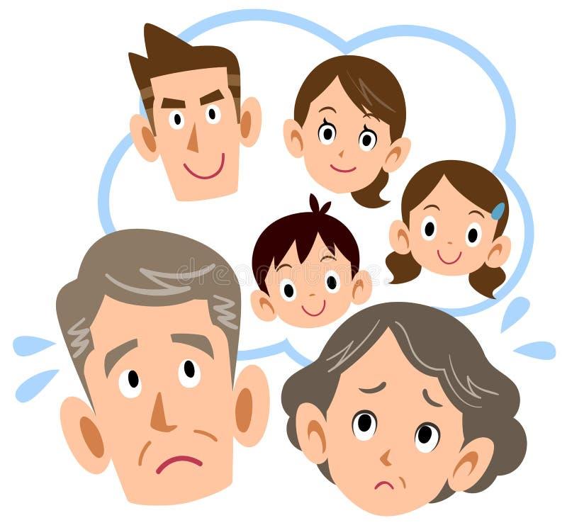 Starsza para niepokojąca ich syna rodziną ilustracja wektor