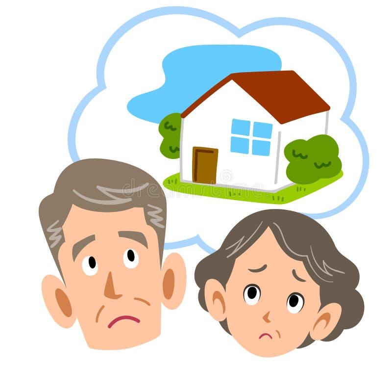 Starsza para niepokojąca w domu royalty ilustracja