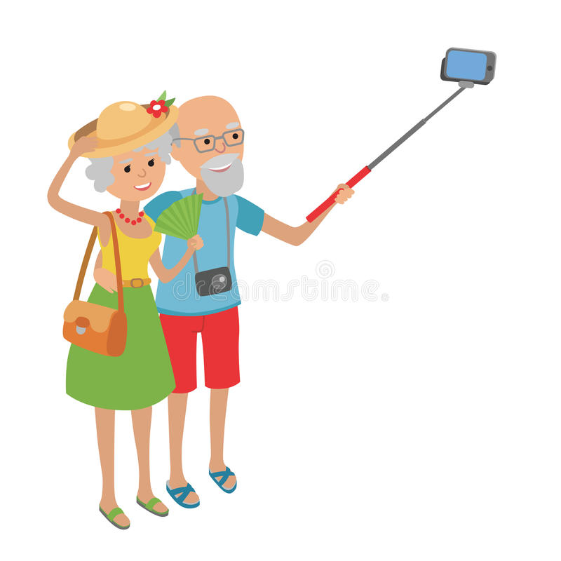 Starsza para robi selfie ilustracja wektor