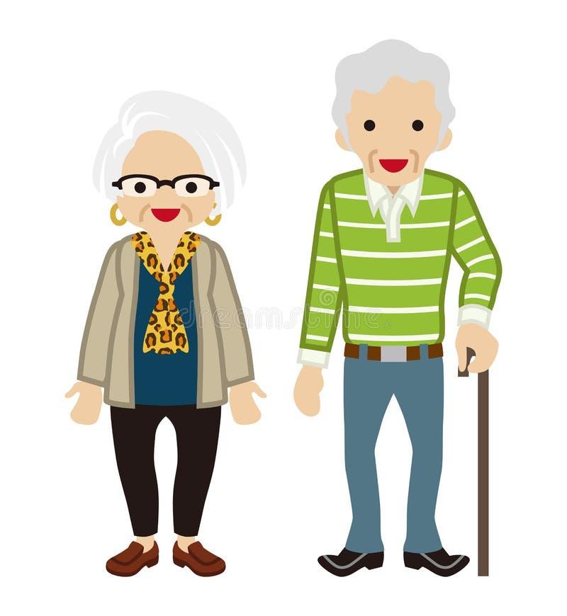 Starsza para - trzcina starszy mężczyzna royalty ilustracja