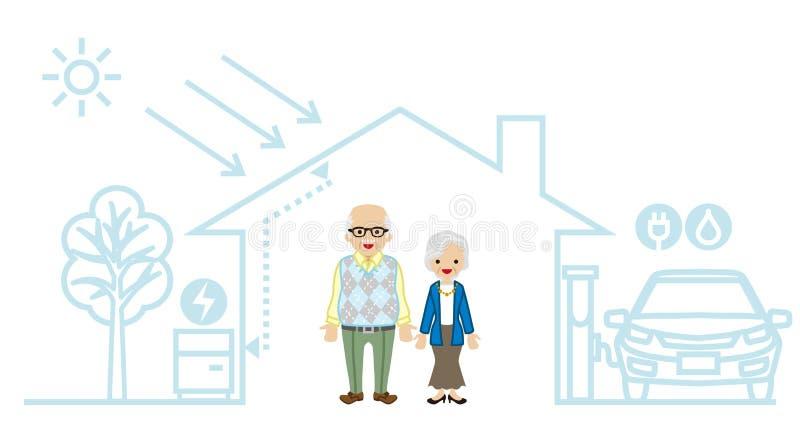 Starsza para w Futurystycznym domu ilustracji