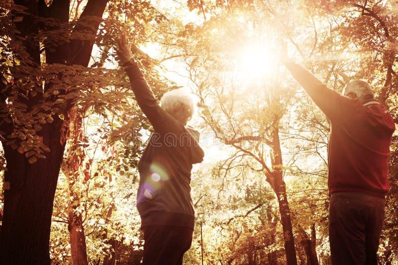 Starsza para w parku z otwartymi rękami zdjęcie stock