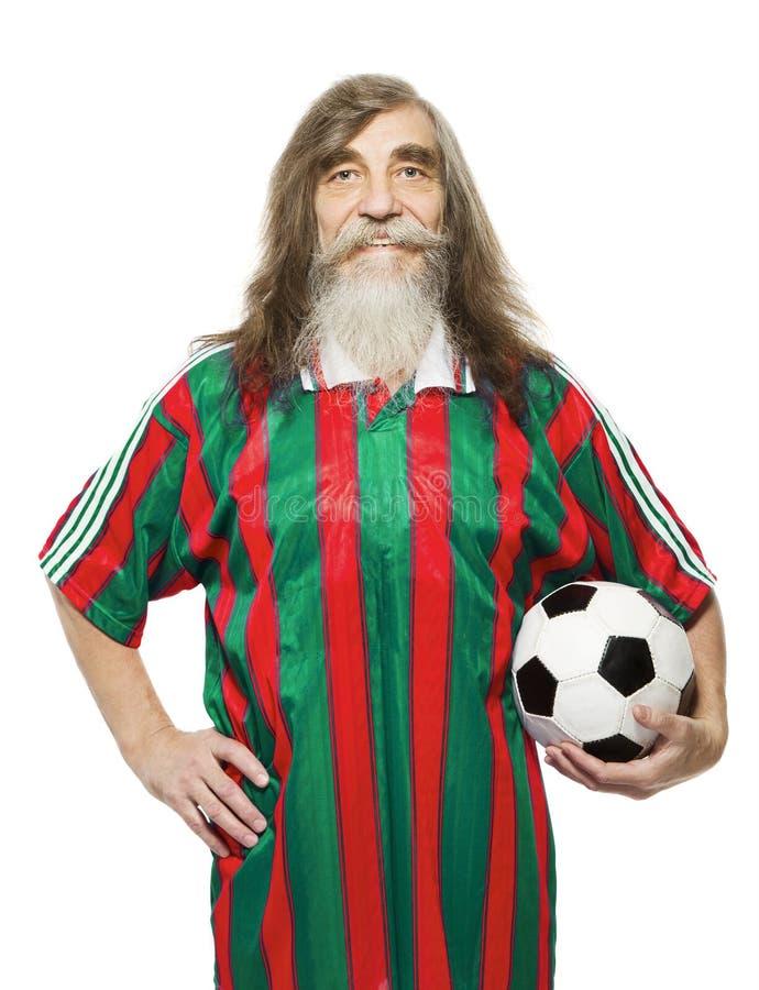 Starsza piłka nożna sporta aktywność Starego człowieka fan piłki nożnej fotografia stock