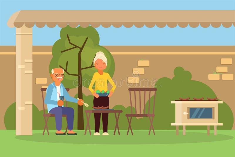 Starsza rodzinna para na bbq wektoru ilustraci ilustracja wektor
