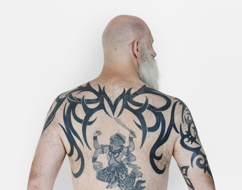 Starsze Dorosłe mężczyzna Tylni widoku Hanuman tatuażu sprawy duchowe sztuki fotografia royalty free