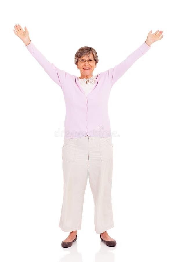 Starsze kobiet ręki up zdjęcie royalty free
