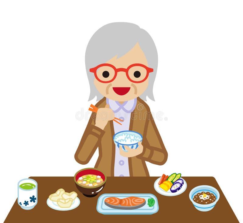 Starsze kobiety je Japońskiego śniadanie royalty ilustracja