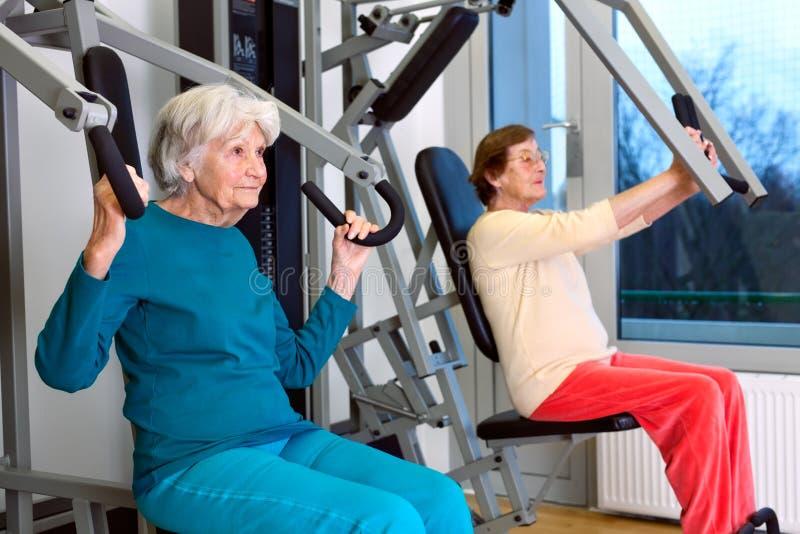 Starsze kobiety Robi klatki piersiowej prasy ćwiczeniu zdjęcie stock