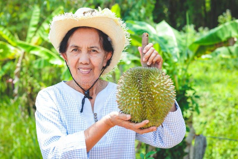 Starsze kobiety trzyma durian zdjęcie royalty free
