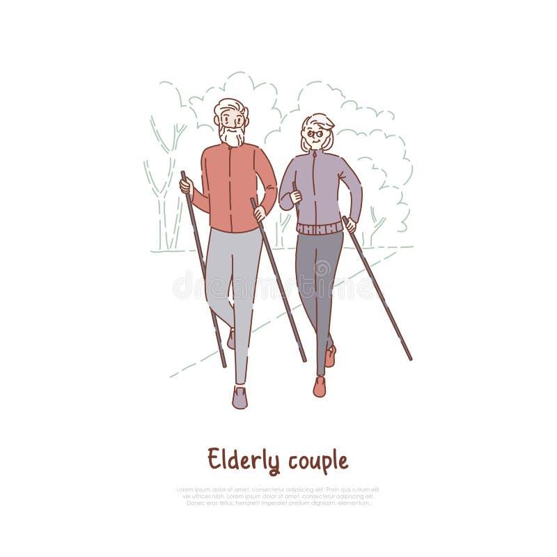 Starsze osoby dobierają się na przespacerowaniu, sprawność fizyczna, sporta ćwiczenie, zamężnej senior pary plenerowy odtwarzanie ilustracja wektor