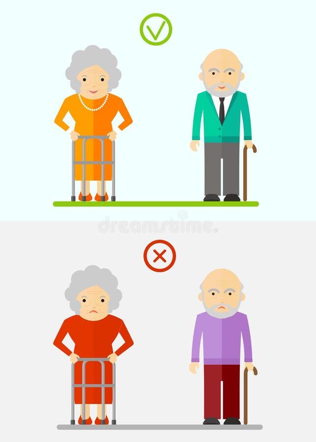 Starsze osoby dobierają się szczęśliwego i nieszczęśliwego ilustracja wektor