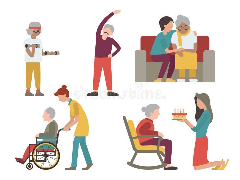 Starsze osoby i kobieta set obsługują ilustracja wektor