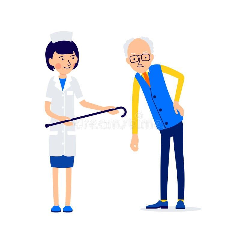 Starsze osoby obsługują opierają od niskiego bólu pleców, on trzymają bolesnego miejsce dowcip ilustracja wektor