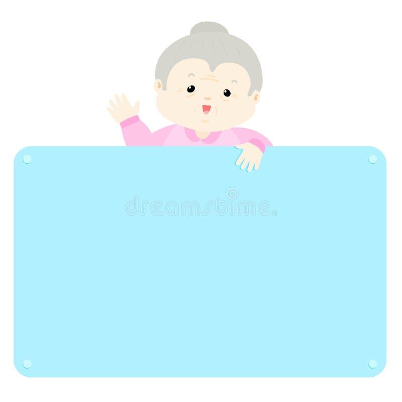 Starszego kobieta chwyta pusta deska royalty ilustracja