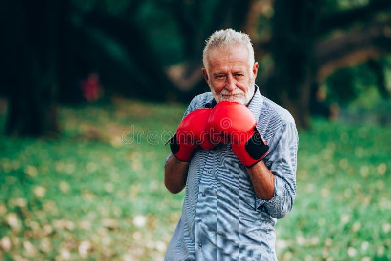 Starszego mężczyzna bokserskie rękawiczki zdjęcia royalty free