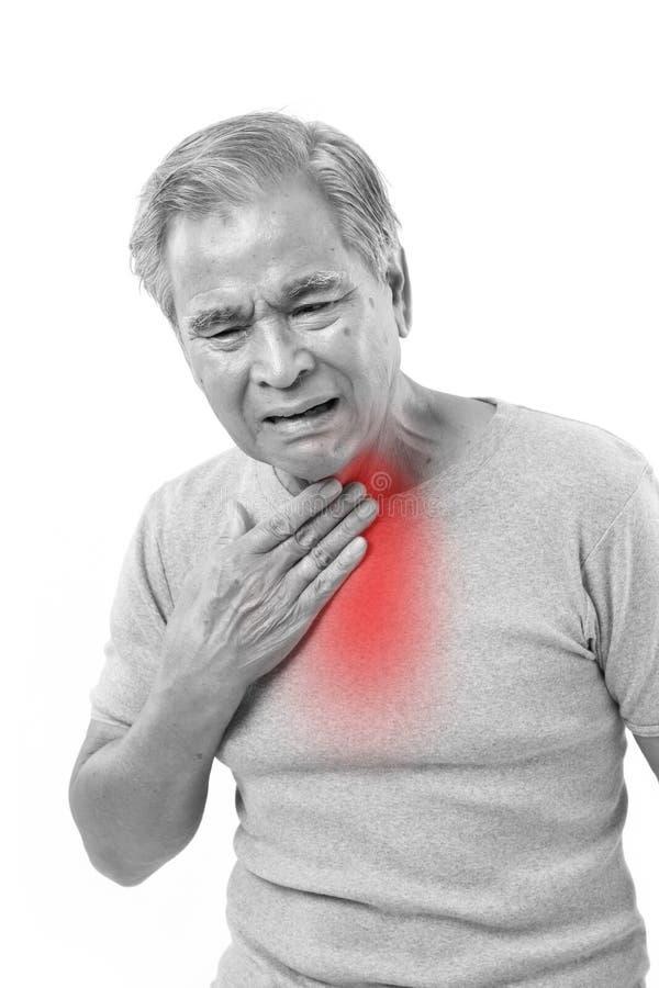 Starszego mężczyzna cierpienie od bolesnego gardła fotografia royalty free