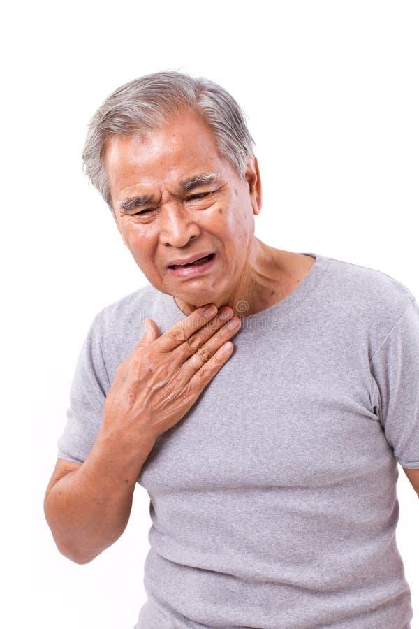Starszego mężczyzna cierpienie od bolesnego gardła obrazy royalty free