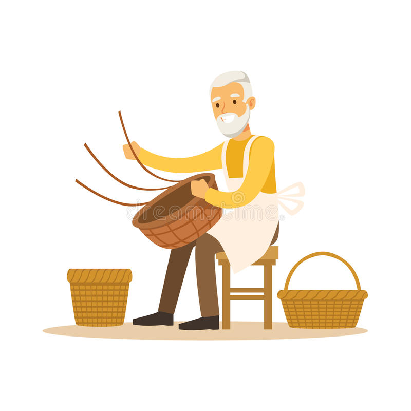 Starszego mężczyzna tkactwa kosze, rzemiosło hobby lub zawodu charakteru wektoru kolorowa ilustracja, ilustracji