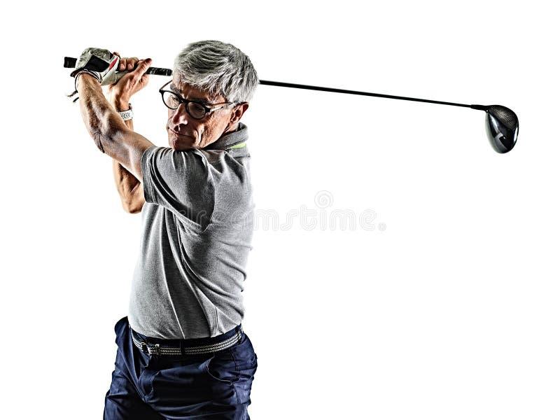 Starszego mężczyzny golfista grać w golfa cień sylwetkę odizolowywał bielu plecy obrazy royalty free
