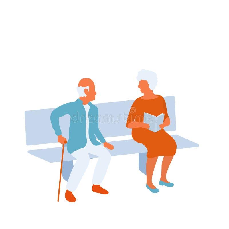 Starszego mężczyzny i kobiety obsiadanie na parkowej ławce i patrzeć eath inny ilustracja wektor