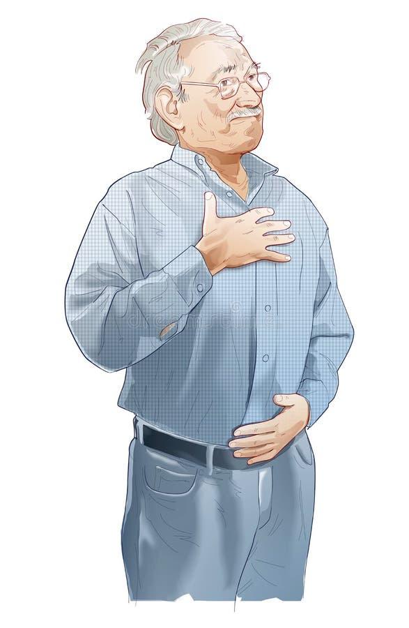 Starszego mężczyzny kreskowej ilustracji oddychanie, inspiracja i ekspiracja, royalty ilustracja