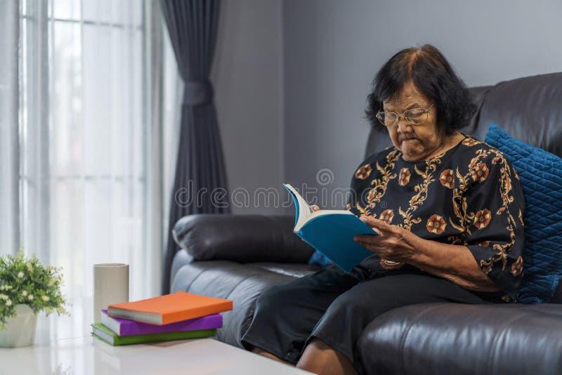 Starszej kobiety czytelnicza książka w żywym pokoju fotografia royalty free