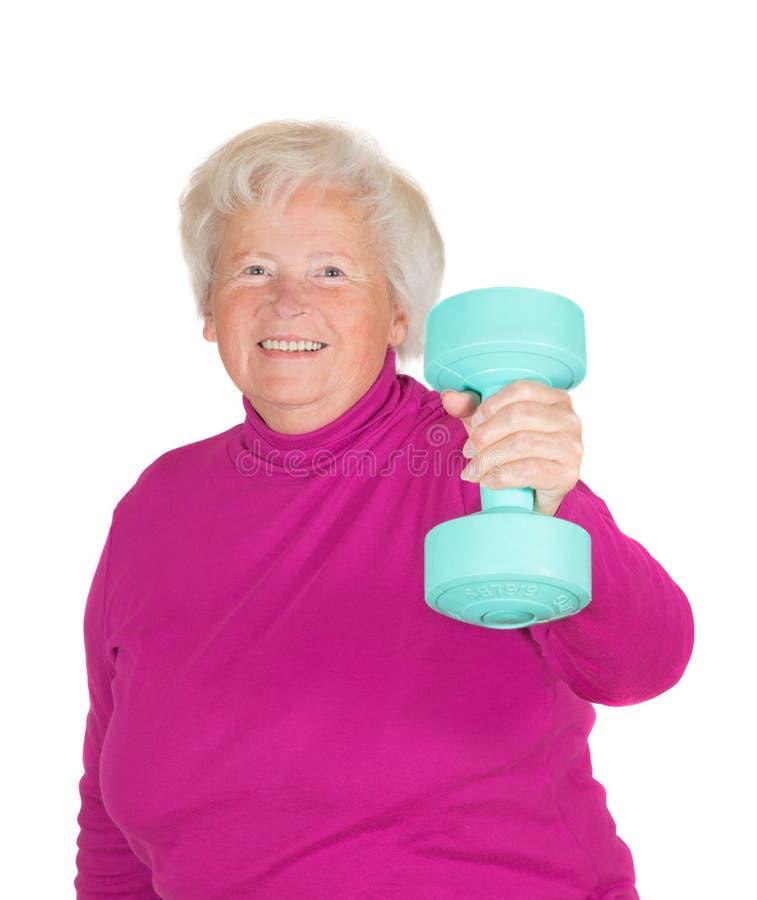 Starszej kobiety podnośni ciężary zdjęcie stock