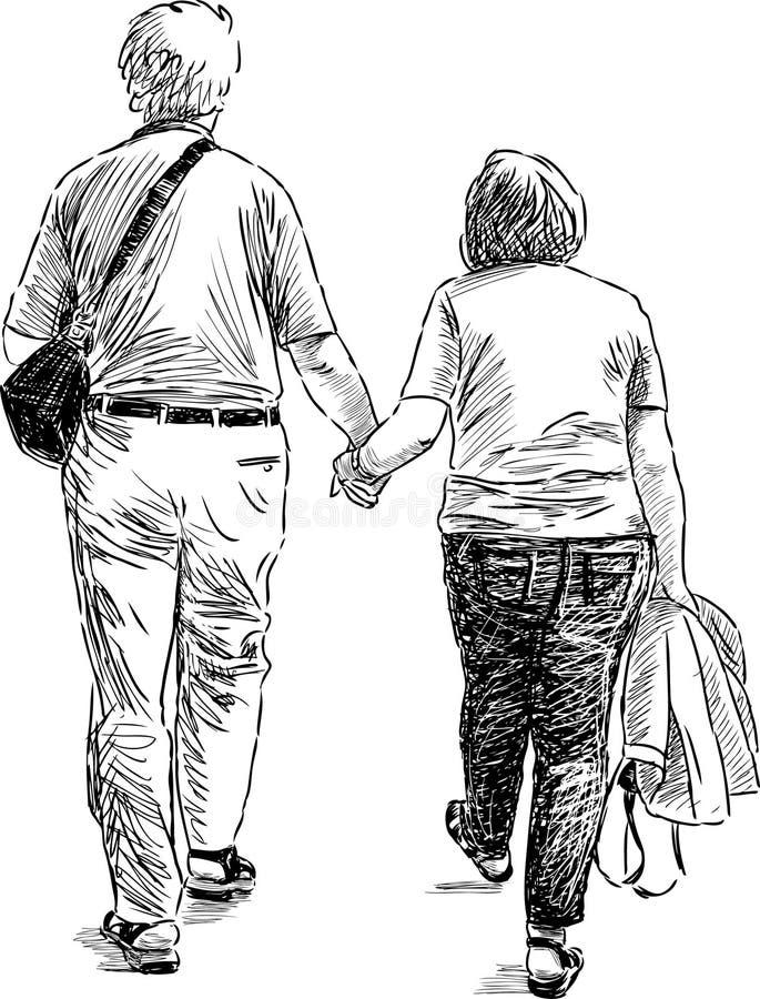 Starszej osoby para przy spacerem royalty ilustracja