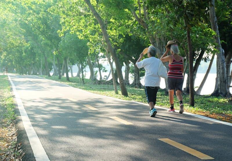 Starszej osoby pary kobiety chodzi ćwiczenie przy parkiem w popołudnia świetle fotografia royalty free