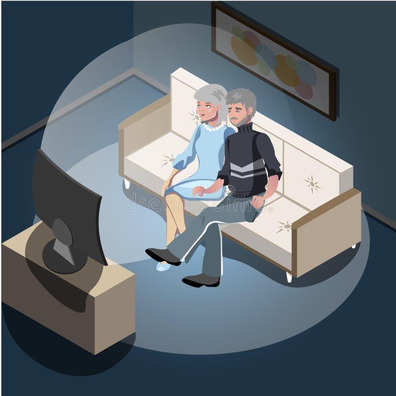 Starszej osoby pary obsiadanie na kanapie TV dopatrywaniu i ilustracja wektor