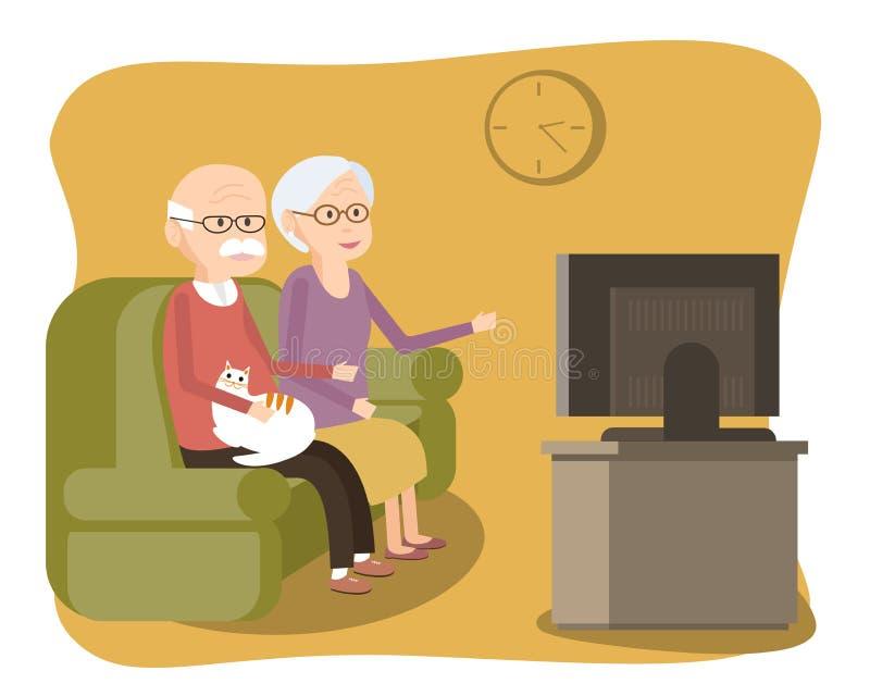 Starszej osoby pary obsiadanie na kanapie TV dopatrywaniu i ilustracji