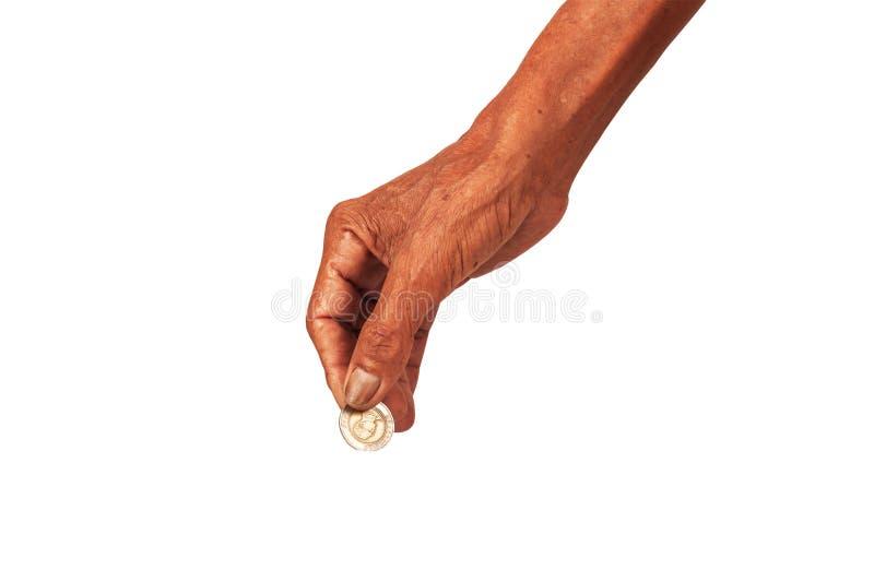 Starszej osoby ręki mężczyzna mienia pieniądze zdjęcie stock