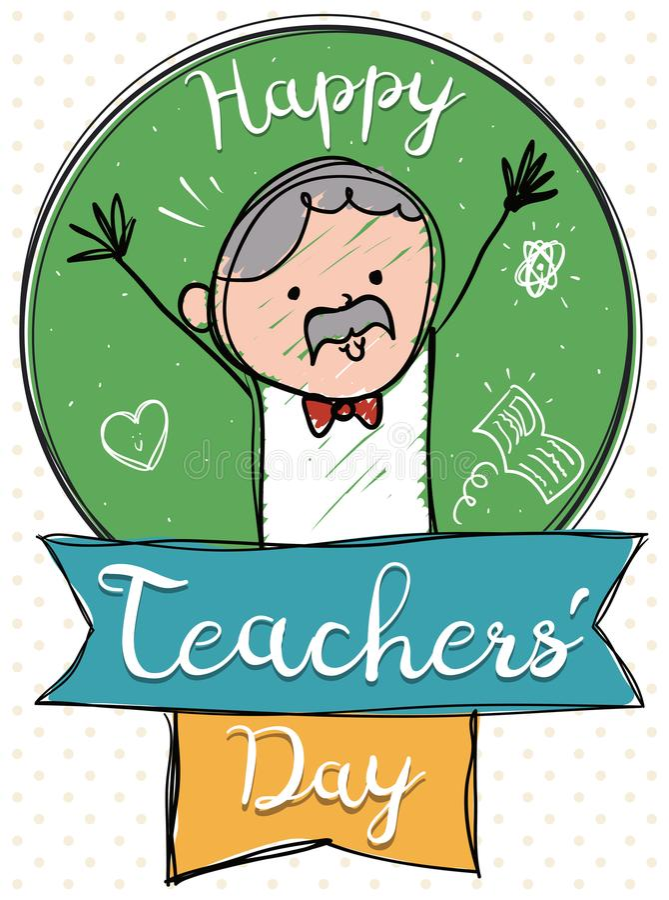 Starszy Śliczny pedagog Świętuje Szczęśliwego nauczyciela ` dzień, Wektorowa ilustracja royalty ilustracja