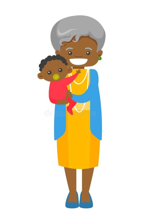 Starszy afrykański babci mienia wnuk ilustracji
