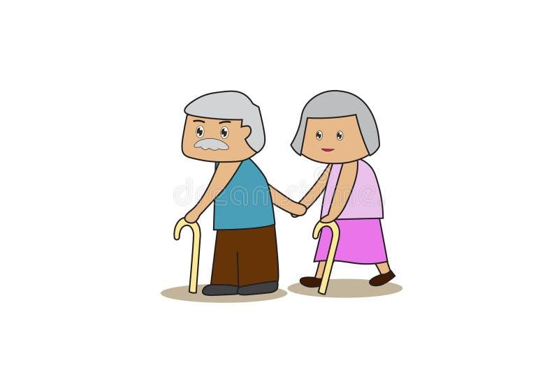 Starszy babci i babci use kij Pary mienia ręki, Biorą opiekę each inny royalty ilustracja