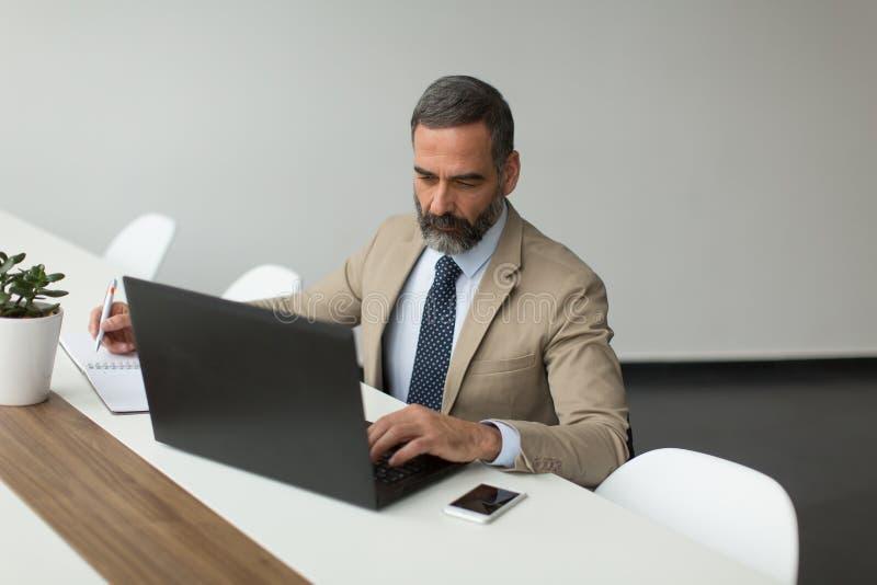 Download Starszy Biznesmen Pracuje Na Laptopie Obraz Stock - Obraz złożonej z kierownik, biznesmen: 106919513