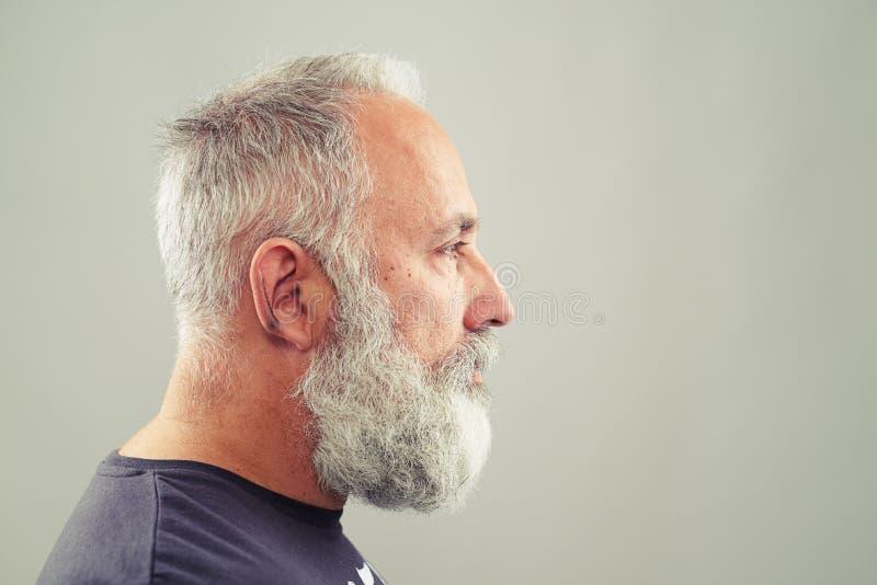 Starszy brodaty mężczyzna nad jasnopopielatym tłem obrazy royalty free
