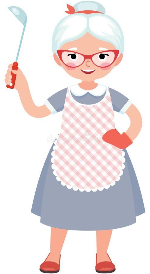 Starszy dama kucharz w pełnej długości w fartuchu z kopyścią i ilustracja wektor