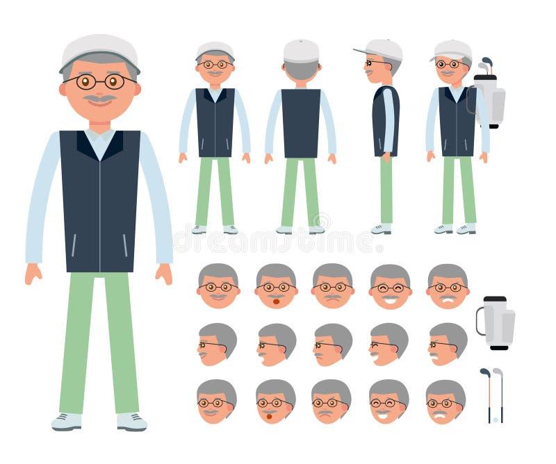 Starszy golfista Mężczyzna charakteru tworzenia set ilustracja wektor