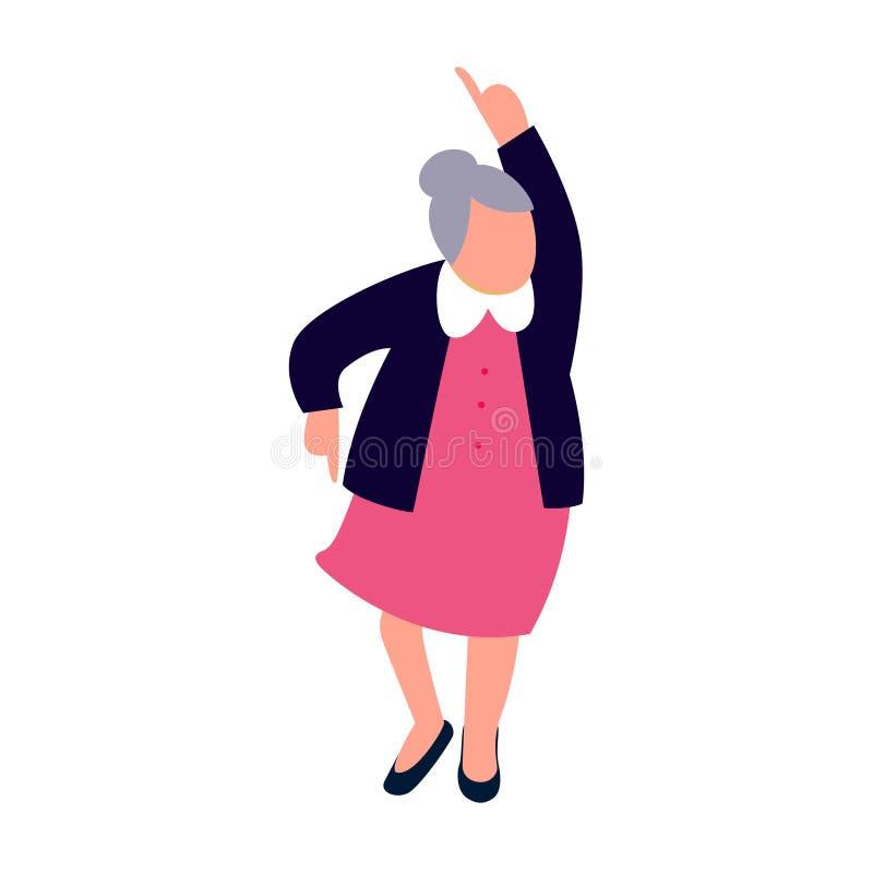 Starszy kobieta taniec Szczęśliwy starej damy tana charakter royalty ilustracja