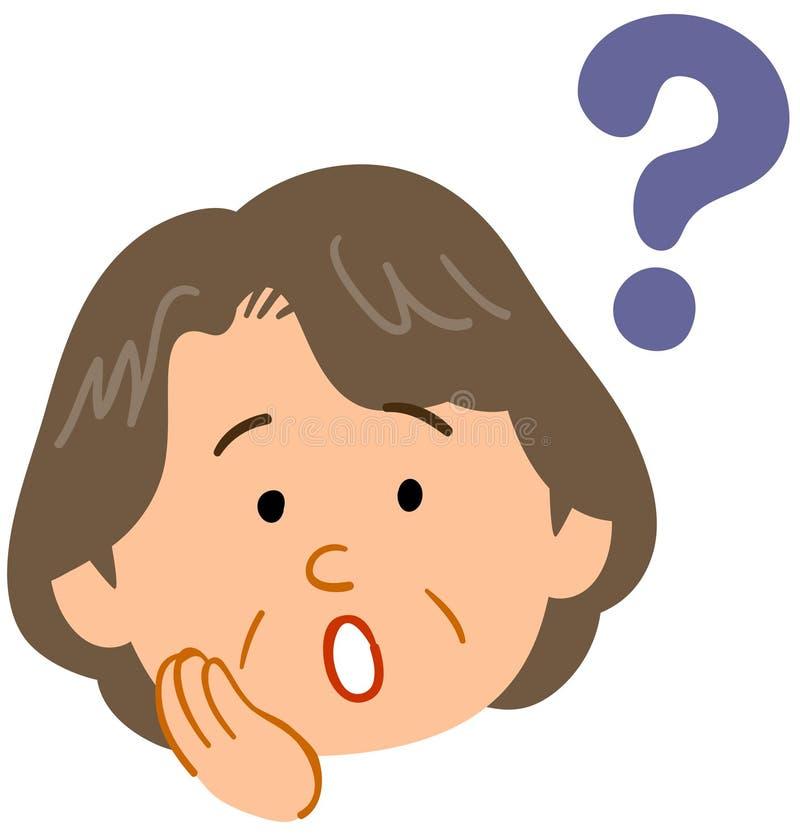 Starszy kobieta wyraz twarzy który filc wątpliwość ilustracji