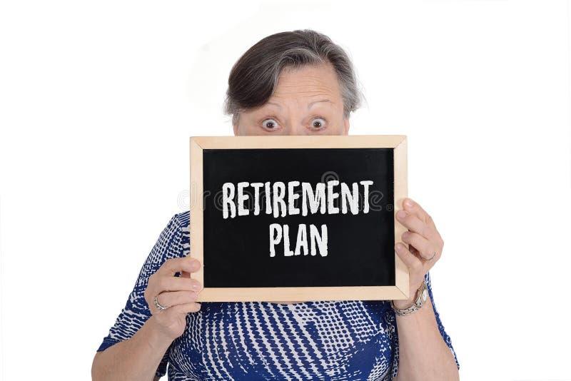 Starszy kobiety mienia chalkboard z tekstem zdjęcia stock