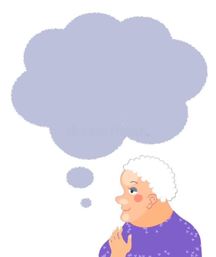 Starszy kobiety postać z kreskówki portret z mowa bąblem royalty ilustracja