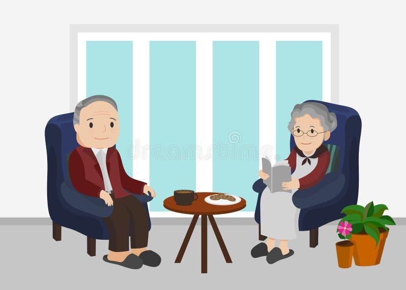 Starszy mężczyzna i kobiety obsiadanie w żywym pokoju ilustracji