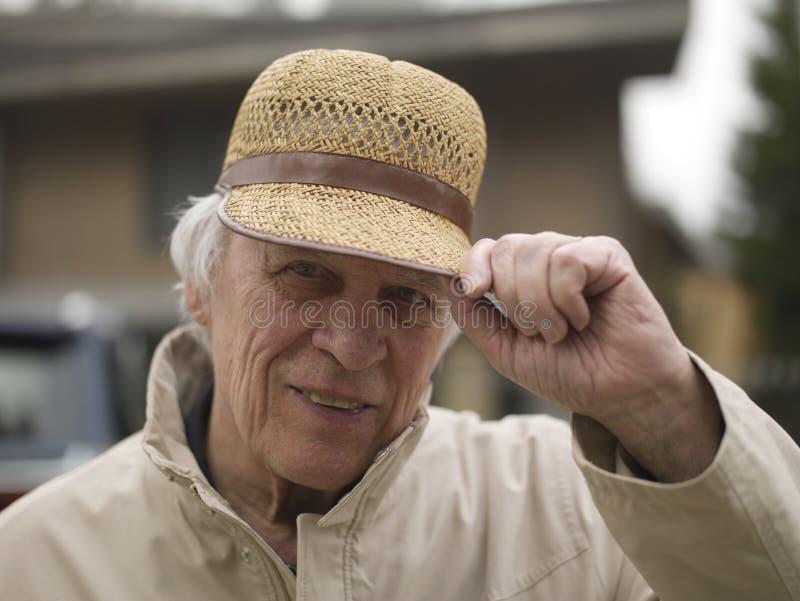Starszy mężczyzna mówi cześć obraz stock