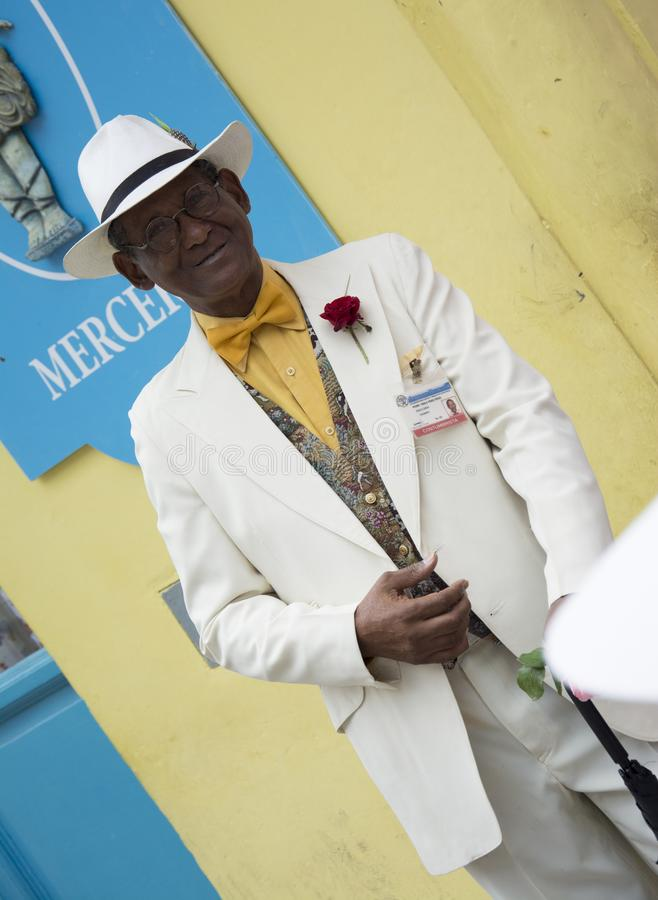 Starszy mężczyzna na ulicie Hawański, Kuba obraz stock